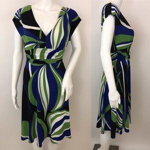 Maggy London Dress Mod Retro Geometric Stretch